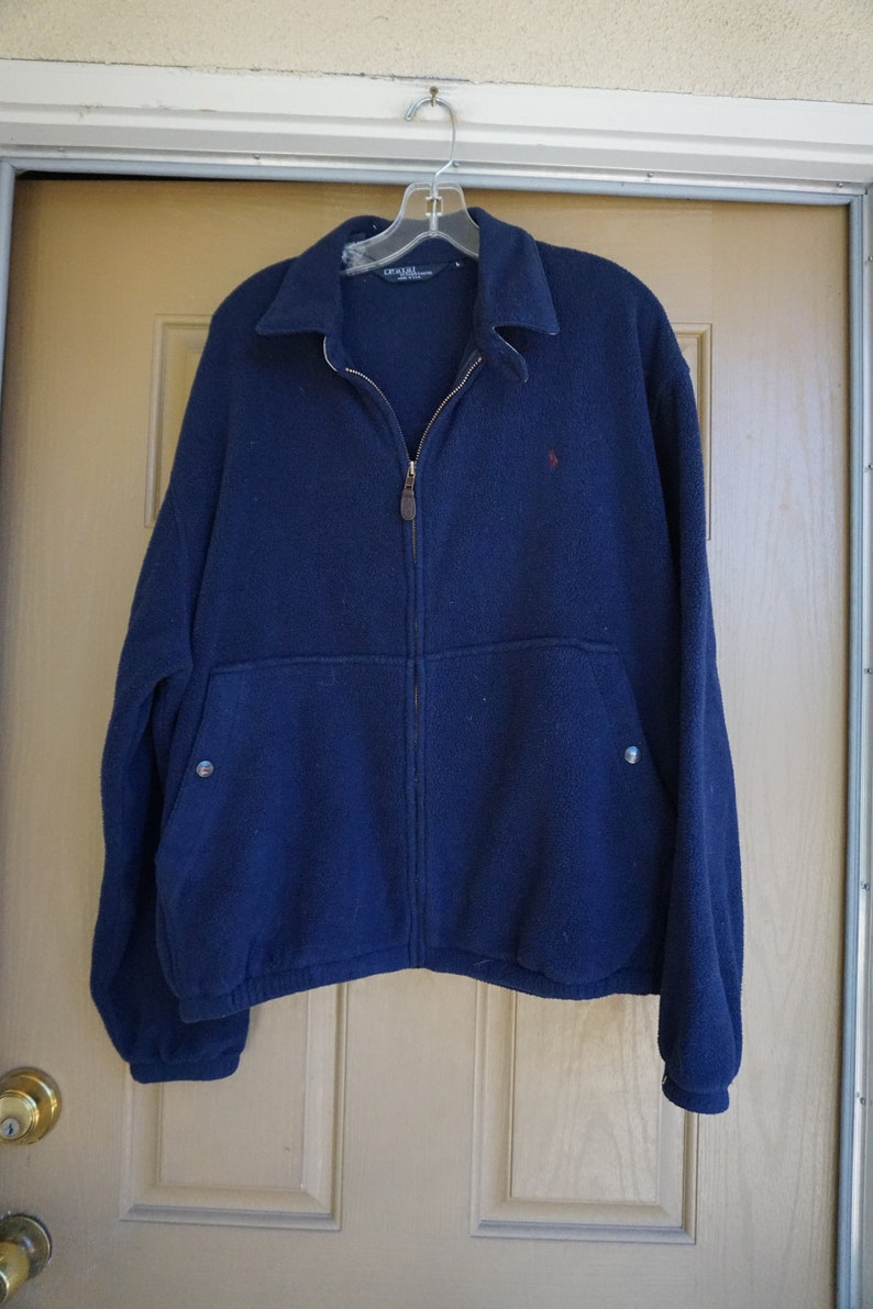 Polo Usa Mens Size Navy Large Fleece Made In Sweater Ralph Blue Jacket Lauren L ON0yvm8nw