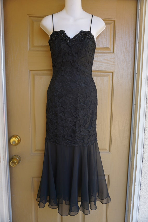 1990s vintage maxi mermaid black lace dress size … - image 1
