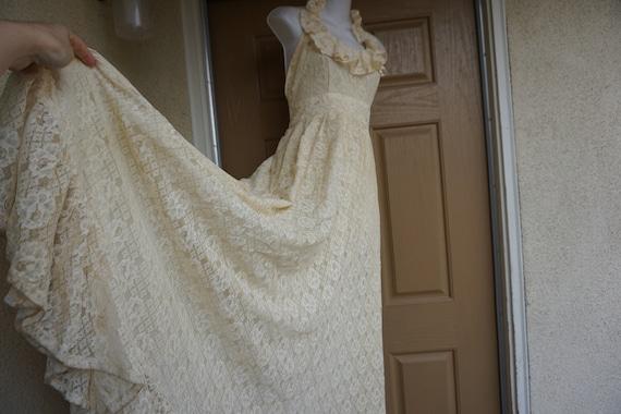 Prairie lace dress Halter 70's Gunne Sax Style Sun