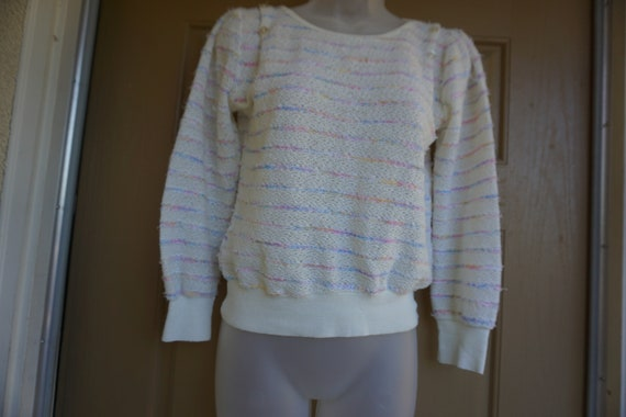 Vintage 1980s or 90s pastel heavy knit sweater si… - image 5