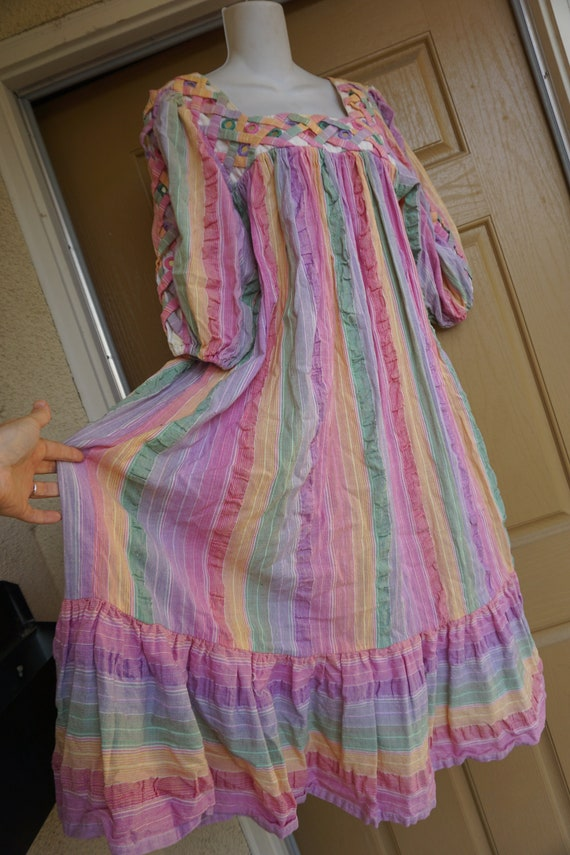 RAMONA RULL pastel Rainbow mirrored striped print… - image 6