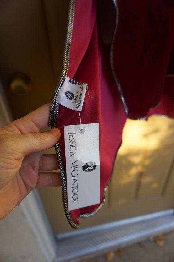 NWT Jessica McClintock Vintage velvety red blanke… - image 5