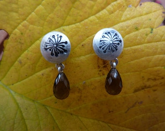 Earrings Silver, smoky quartz