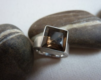 Ring silver, Smoky quartz