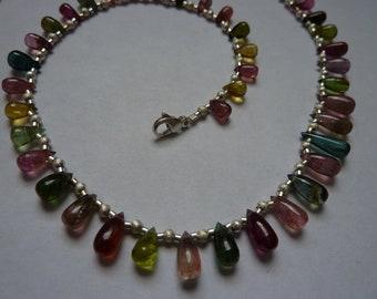 Turmaline necklace colorful silver