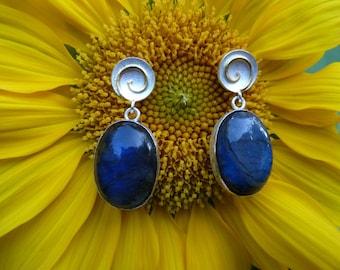 Earrings silver, gold, labradorite