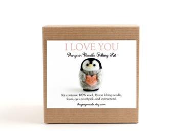 DIY Kit - Valentine Penguin Needle Felting Kit - Valentine's Day Gift