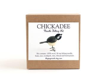 DIY Kit - Chickadee Needle Felting Kit - Needle Felted Animal Kit