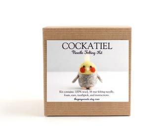 DIY Kit - Cockatiel Needle Felting Kit - Needle Felted Animal Kit