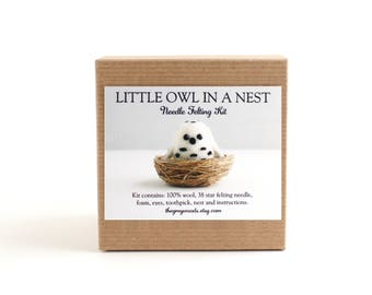 DIY Kit - Little Owl in a Nest Needle Felting Kit - Needle Felted Animal Kit