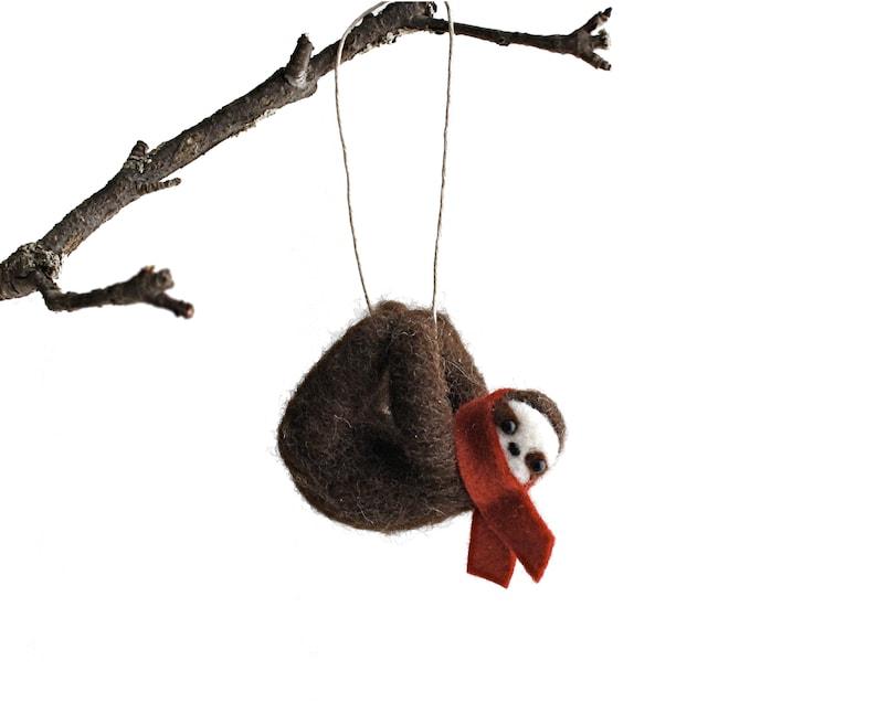 Felt Sloth Ornament  Wool Animal image 0