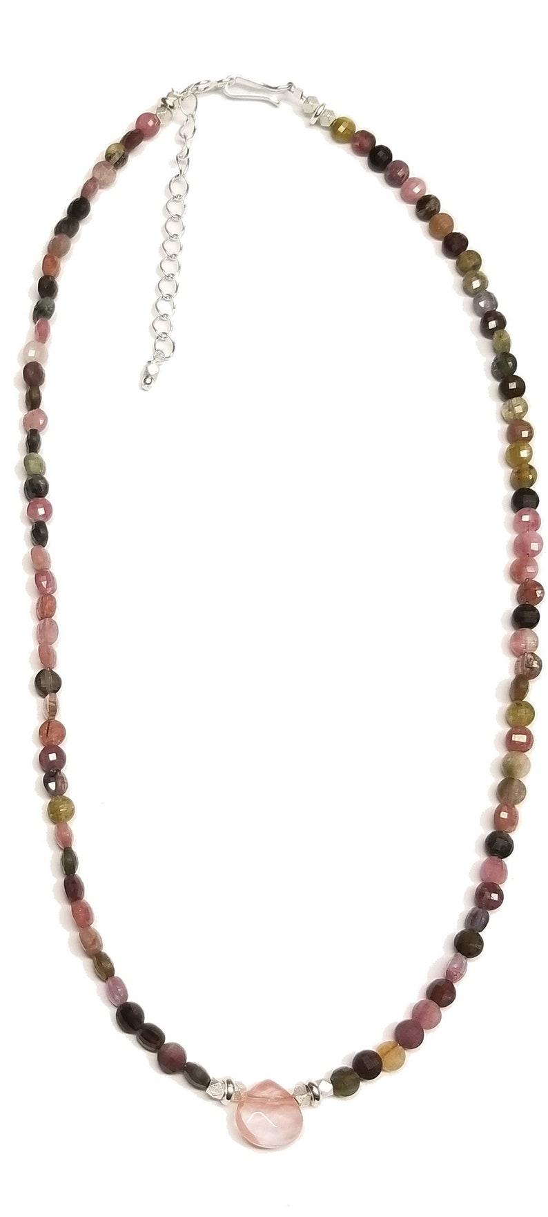 Tourmaline 18 Silver Necklace with Cherry Quartz Briolette