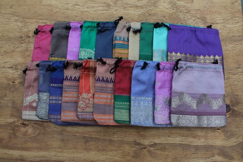 Wholesale Bags 5 x 5 Recycled Sari Bags Fabric Gift Bags 20 Sari Bags