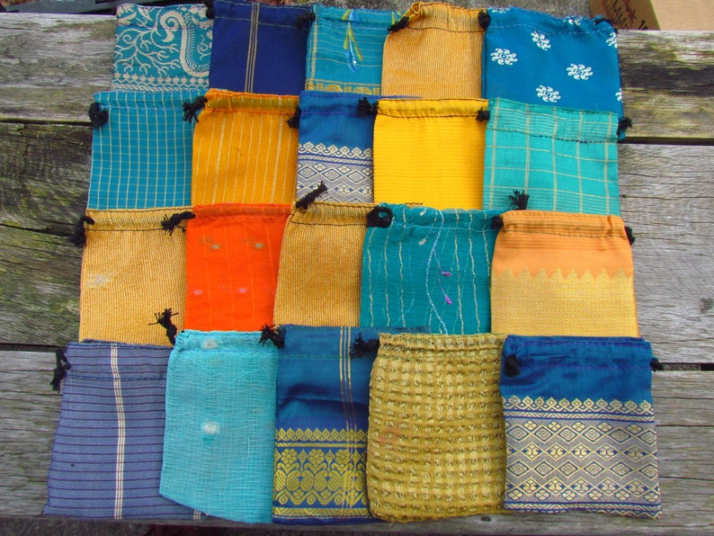 Wholesale Bags 4 x 4 Recycled Sari Bags 20 Sari Bags Fabric Gift Bags