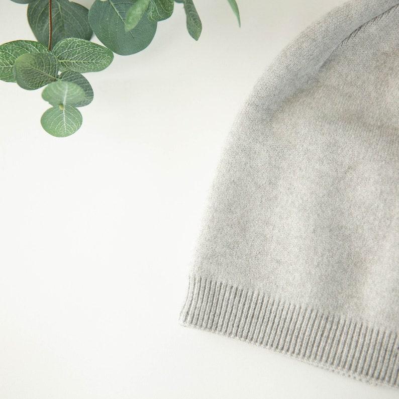 Cashmere blend ultra soft beanie heather gray