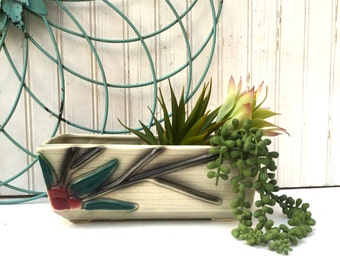 Mid-Century Gray Planter with Leaves and Berries, Vintage Ceramic Planter