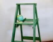 Large Green Wood Step Ladder, Farmhouse Decor, Farmhouse Display , Green Wood Plant Stand