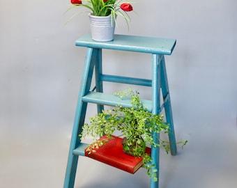Vintage Wood Step Ladder, Painted Wood Ladder, Decorative Step Stool, Plant Stand, Vintage Step Stool, Farmhouse Decor