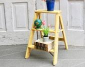 Vintage Wood Step Ladder, Painted Wood Ladder, Decorative Step Stool, Plant Stand, Vintage Step Stool