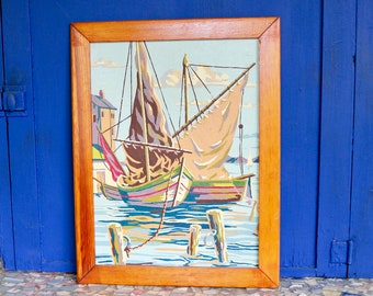Vintage Framed Paint By Numbers Sailboat on the Ocean