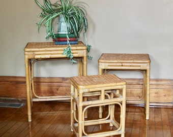 Genial Three Piece Wicker And Bamboo Furniture   1970s Rattan Nesting Tables    Asian  Vintage Home   Lanai   Patio   Porch Furniture