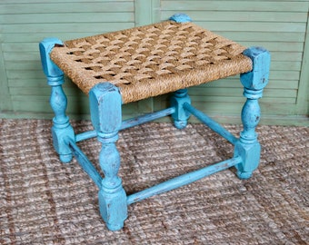 Vintage Primitive Woven Bench With Blue Wood Frame, Farmhouse Style Furniture , Wood Stool with Wicker Seat