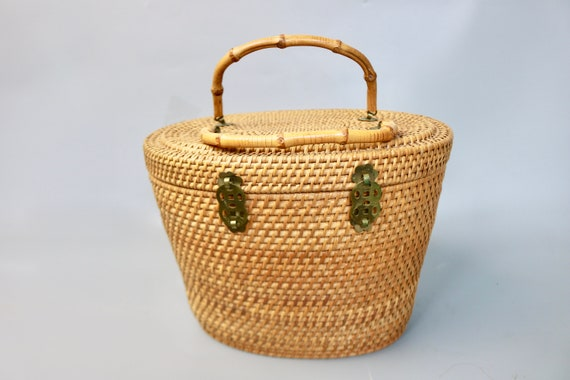 Vintage Large Rattan Straw Top Handle Basket Bag/… - image 2