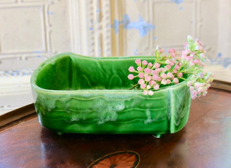 Vintage Mid-Century Green Ceramic Indoor Planter USA