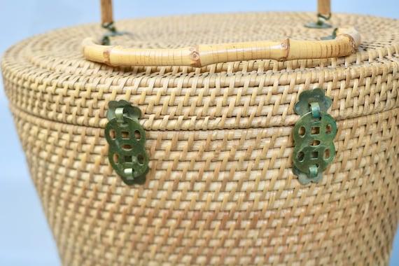 Vintage Large Rattan Straw Top Handle Basket Bag/… - image 3