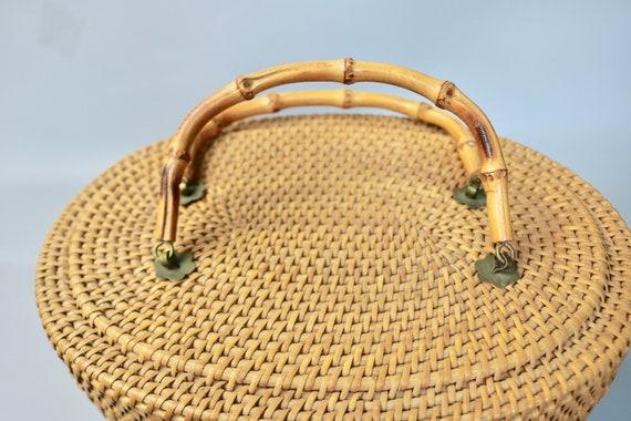 Vintage Large Rattan Straw Top Handle Basket Bag/… - image 8