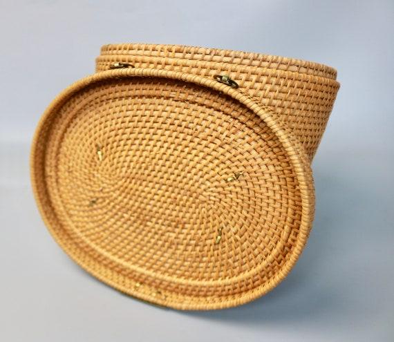 Vintage Large Rattan Straw Top Handle Basket Bag/… - image 7
