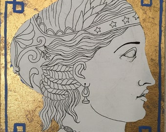 SALE Empire style ink drawing with gold leaf II