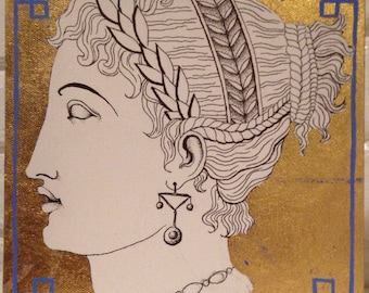 SALE Empire style ink drawing with gold leaf