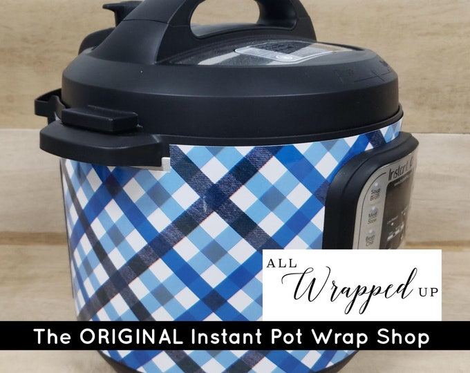 Blue Plaid, Pressure Cooker Wrap with magnetic application, Instant Pot Wrap Cover or Mealthy wrap cover decal removable