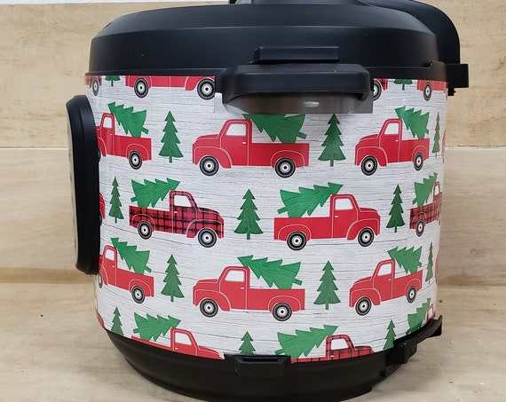 Christmas Wrap for Instant Pot® brand pressure cooker - Red Trucks with Christmas Tree