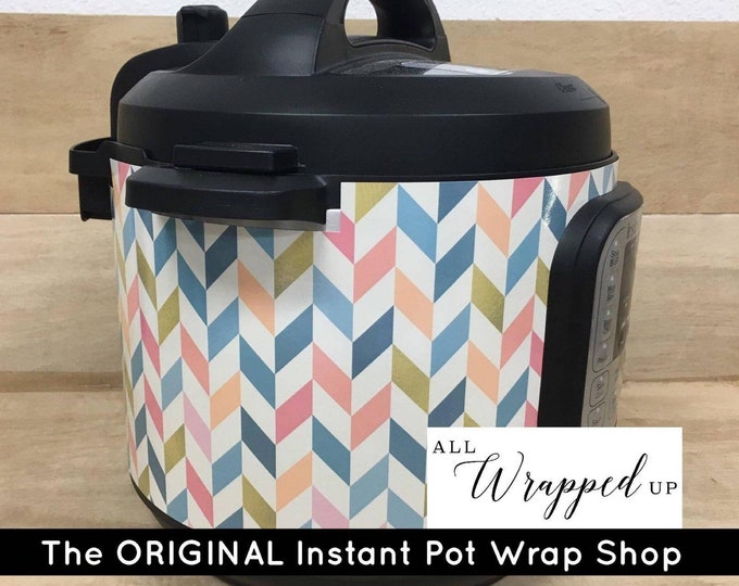 Vintage Herringbone, Pressure Cooker Wrap, Instant Pot Wrap Cover or Mealthy wrap cover decal magnetic closure, removable AND wipe able