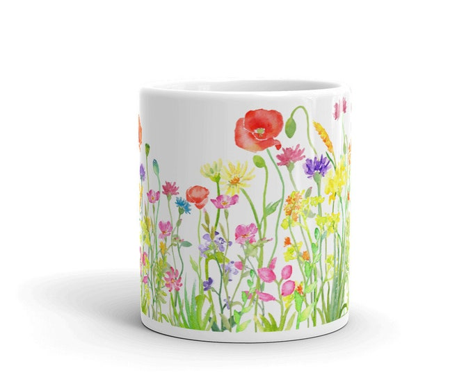 Coffee mug 11 oz., Wildflowers, Gift for mother's day, All Wrapped Up IP