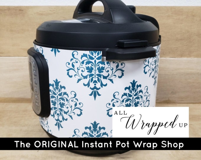 Teal Damask Instant Pot Wrap  Removable not a sticker can be wiped off Mealthy Multicooker Wrap All Wrapped Up IP magnetic closure