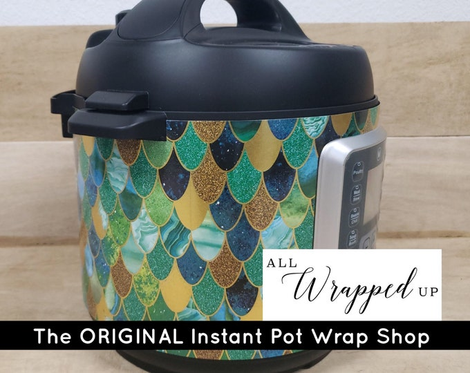 Mermaid, Pressure Cooker Wrap, Instant Pot Wrap Cover or Mealthy wrap cover decal magnetic closure, removable AND wipe able