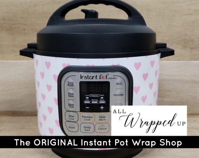 Pink Hearts, Pressure Cooker Wrap, Instant Pot OR Mealthy Multicooker, magnetic closure, decal cover, removable