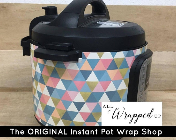 Modern Triangles Pressure Cooker Wrap, Instant Pot Wrap Cover or Mealthy wrap cover decal magnetic closure, removable AND wipe able