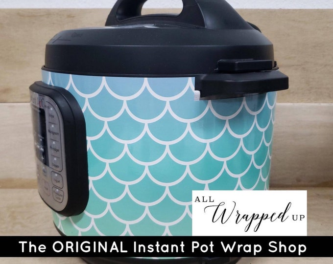 Blue Mermaid, Pressure Cooker Wrap, Instant Pot Wrap Cover or Mealthy wrap cover decal magnetic closure, removable AND wipe able
