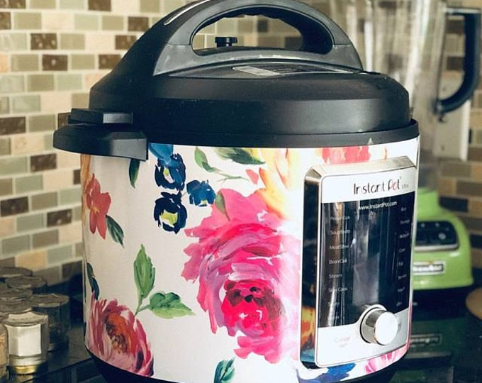 Bright Floral, Instant Pot Wrap OR Mealthy Multicooker, magnetic closure or decal cover, removable Instant pot skin all Wrapped up IP