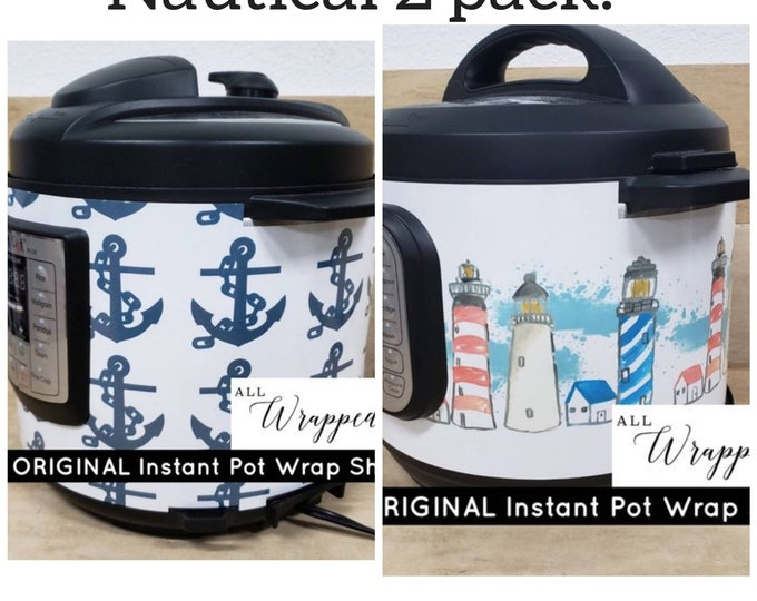 Nautical 2 pack Instant Pot Wrap Lighthouse/Anchors with magnetic application, Mealthy wrap cover decal removable All Wrapped Up IP