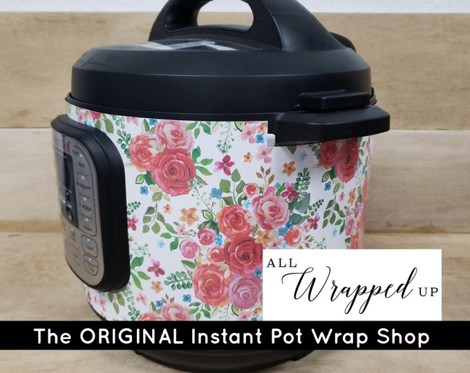 Roses Are Red, Instant Pot Wrap, non-adhesive water resistant wrap AllWrappedUpIP, Mealthy Multicooker wrap, rose flower red roses