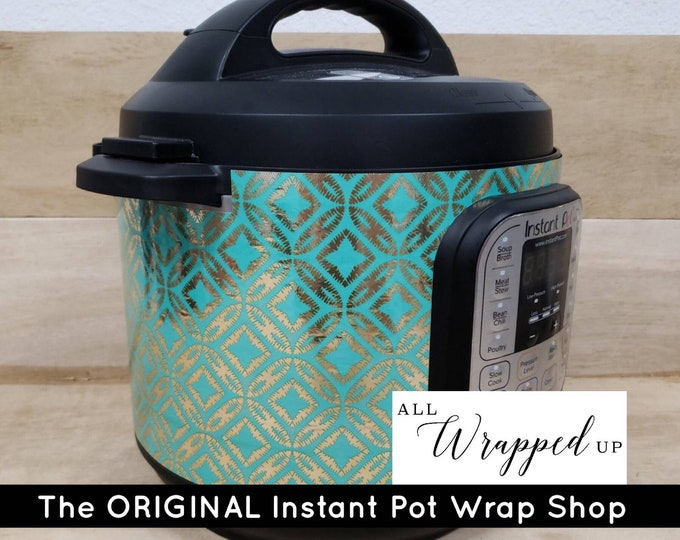 Shimmering Teal Aztec, Instant Pot Wrap Cover or Mealthy wrap cover decal magnetic closure, removable