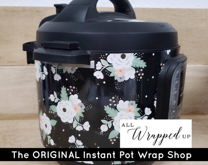 White Floral, Instant Pot Wrap OR Mealthy Multicooker, magnetic closure or decal cover, removable Instant pot skin all Wrapped up IP