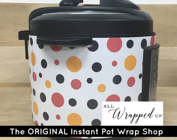 Red, Yellow and Black Polka Dots, Instant Pot Wrap,  Removable AND wipe able, Mealthy Multicooker Wrap