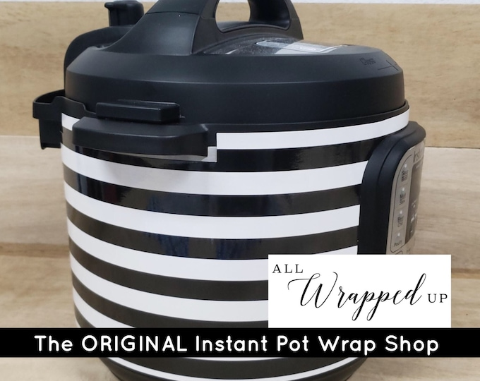 Small Black and White Stripes, Pressure Cooker Wrap, Instant Pot Wrap Cover or Mealthy