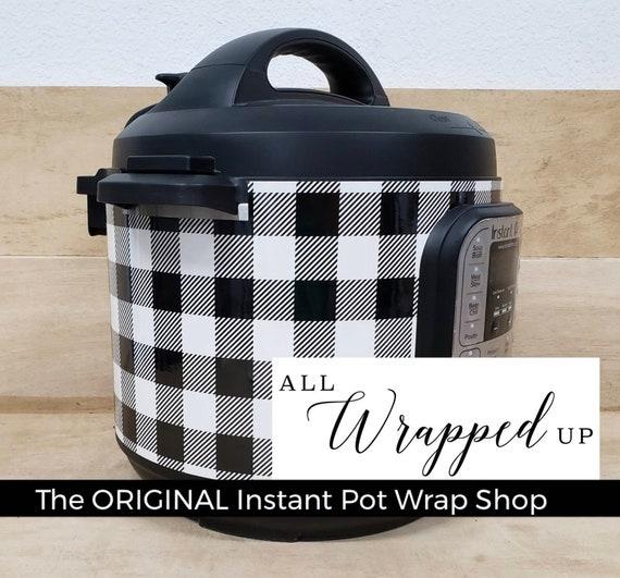 NEW Fall 2019, Instant Pot Wrap Large Black and White Buffalo Plaid. Removable, All Wrapped Up IP, magnetic closure